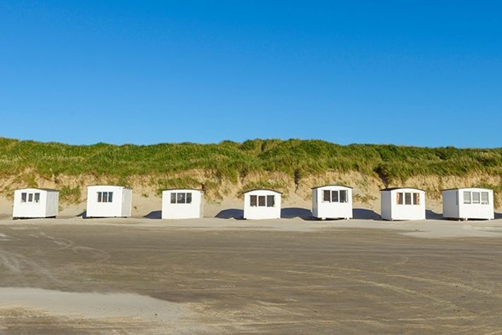 Beach huts in summer, Blokhus