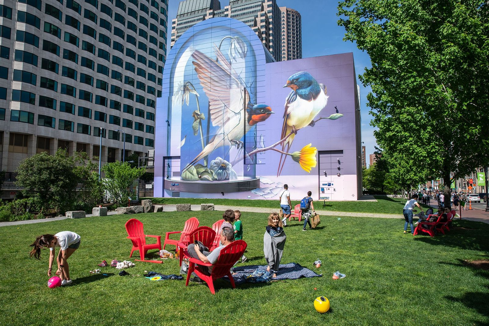Public art on the Rose Kennedy Greenway.