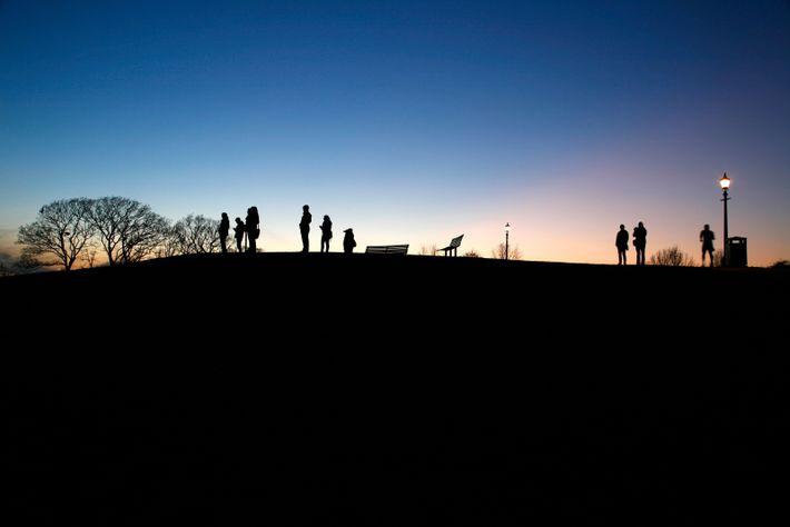 Night falls on Primrose Hill.