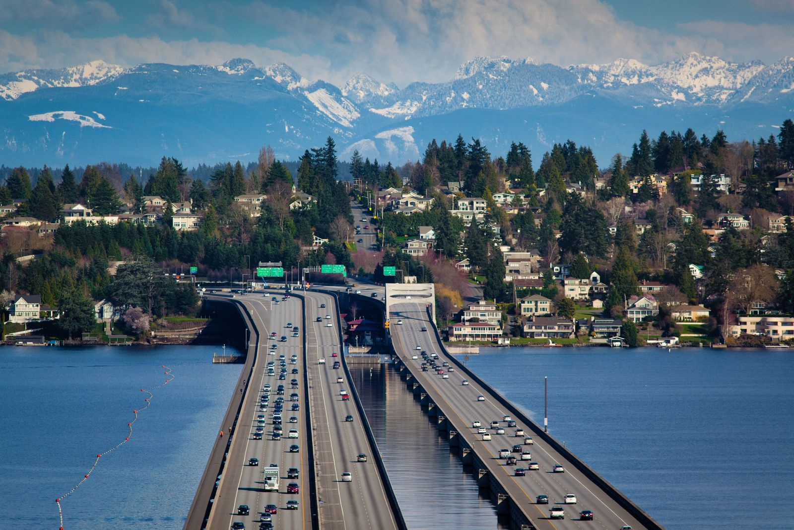 The Homer M Hadley floating bridge carries the Interstate 90 across Lake Washington, Washington state. A ...