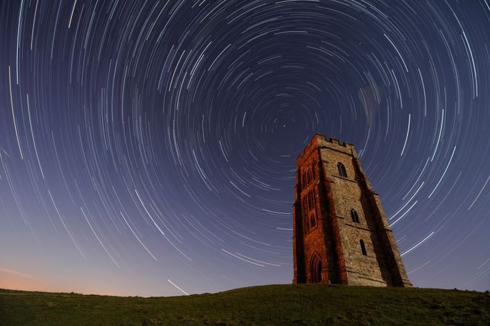Stars and the rotation of the earth captured in a long exposure time-lapse above St Michael's ...
