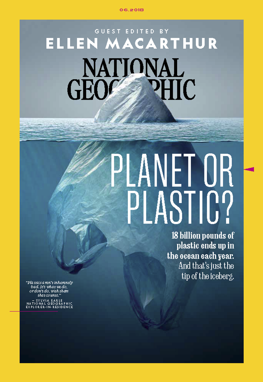 The June 2018 issue is guest edited by Dame Ellen MacArthur and tackles the issue of plastic pollution and the effect on the planet.