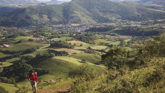Hiker heading into the Pyrenees from Saint-Jean-Pied-de-Port, Camino de Santiago