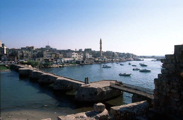A view of the ancient port city of Sidon (modern Saida) in Lebanon, which was established ...