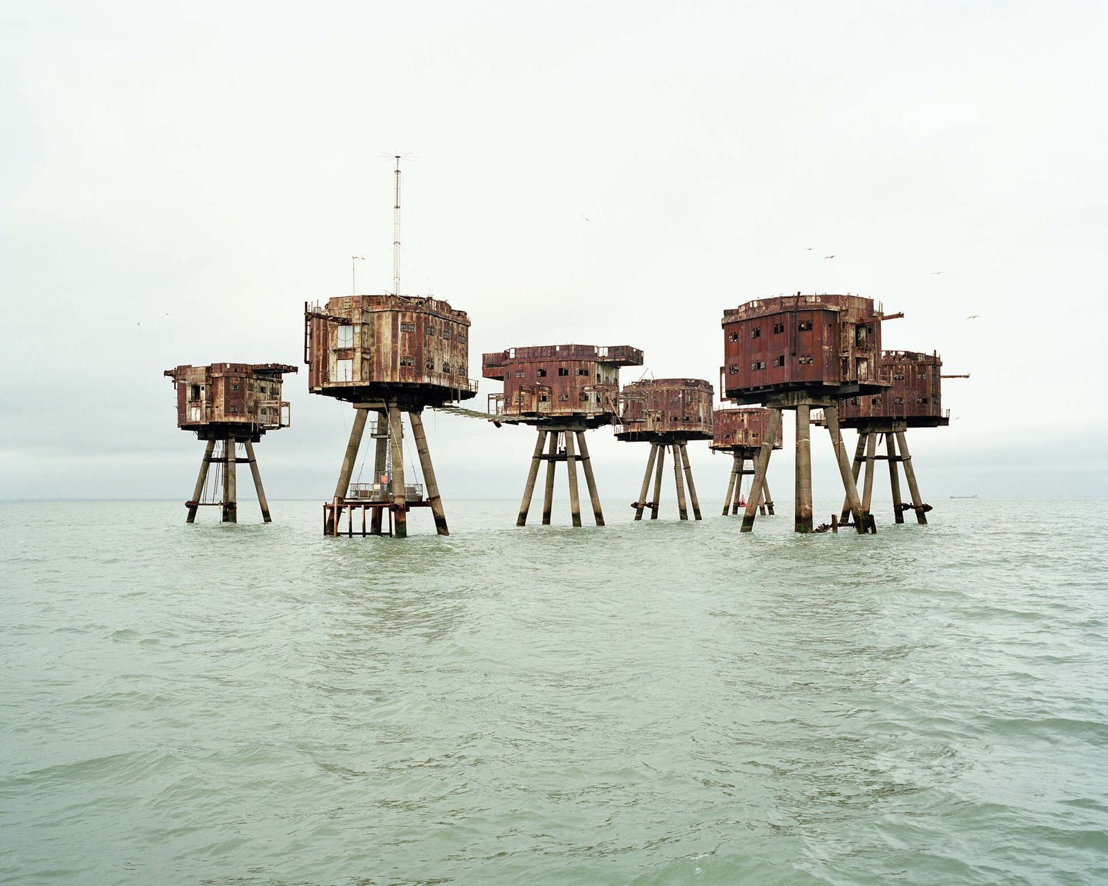 Red Sands, Thames Estuary. The structures are an example of Maunsell Sea Forts, built during the Second ...