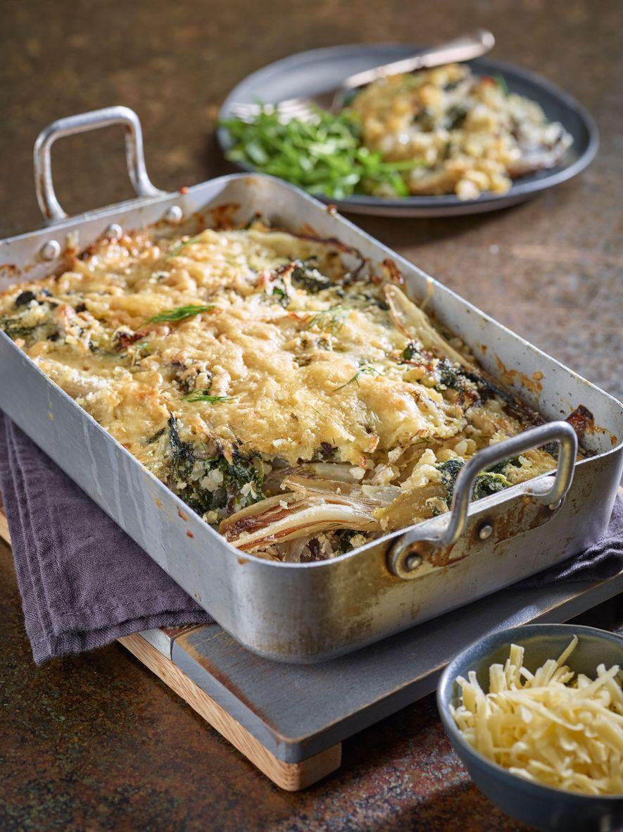 Comté, chicory, kale and rice gratin