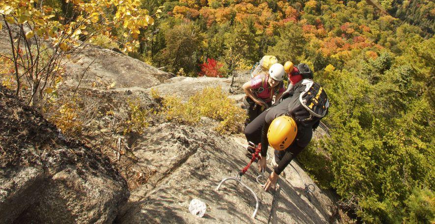 Tackling a via ferrata in Quebec's Mont-Tremblant National Park
