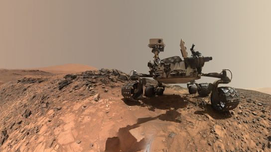 This low-angle 'selfie' by NASA's Curiosity Mars rover shows the vehicle at the site where it ...