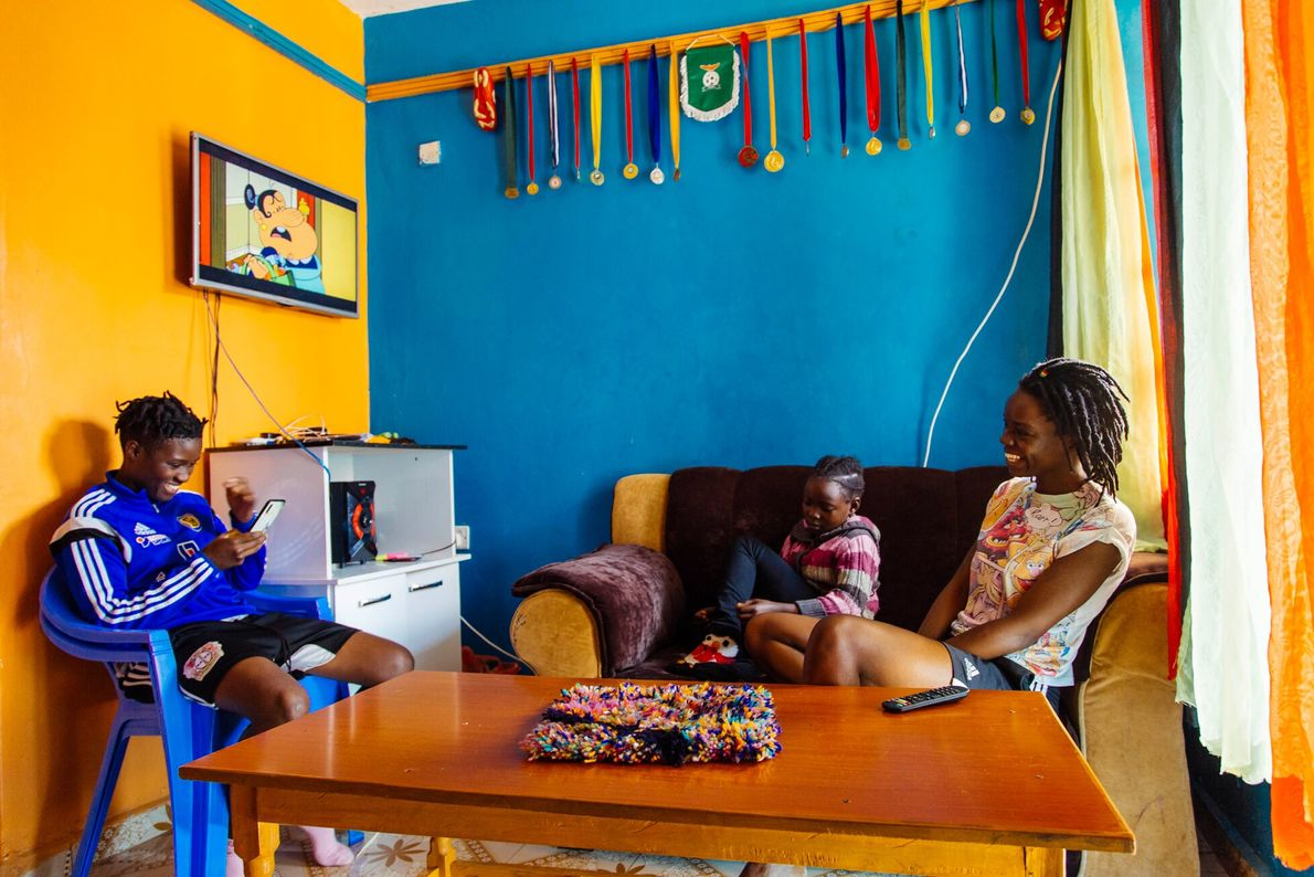 Nafula at home in Vihiga, a town in Eastern Kenya close to Lake Victoria where she plays ...