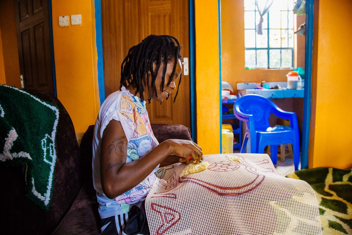 Professional footballer Christine Nafula is a skilled knitter – a hobby she now uses to support ...