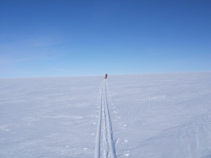 Paul skiing across the Greenland icecap.