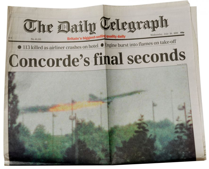 News of Air France flight 4590 breaks on the cover of the Daily Telegraph, July 26, 2000. The incident grounded both British and French Concorde aircraft pending safety modifications.