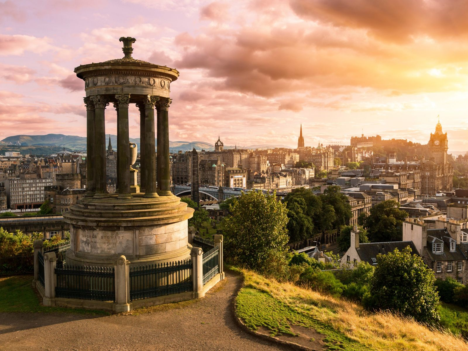 View of Edinburgh city from the Dugald Stewart Monument on Calton Hill.