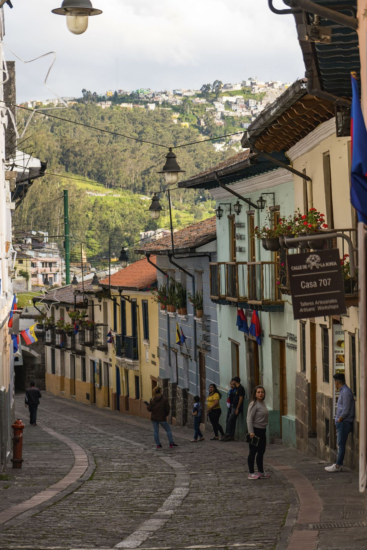 Calle La Ronda, a historic street in Quito that's home to numerous chocolate shops