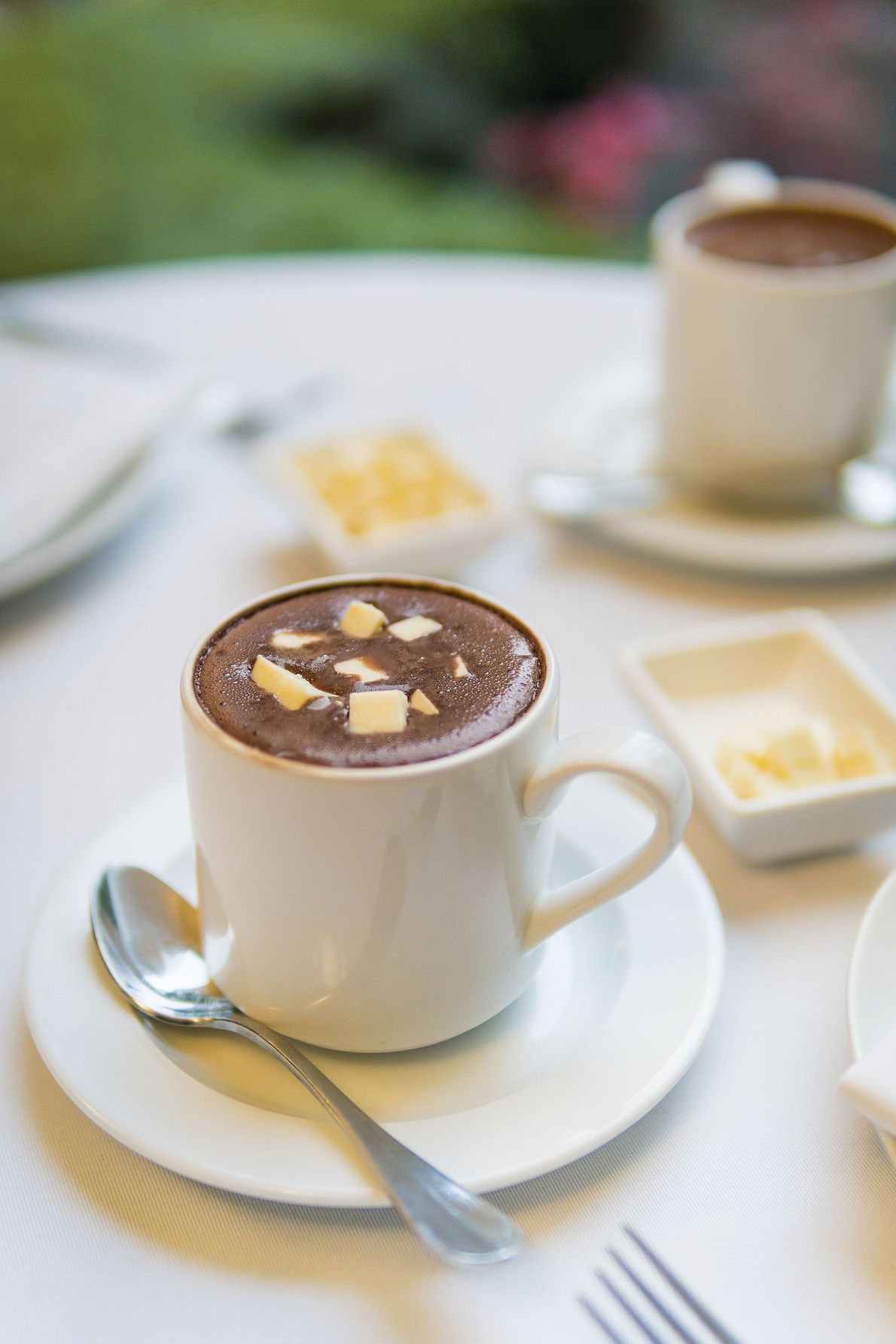 Spiced hot chocolate with cheese at Casa Gangotena, Quito.