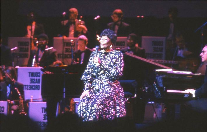 Ella Fitzgerald played the Royal Albert Hall in 1990, supported by the Count Basie Orchestra, in ...