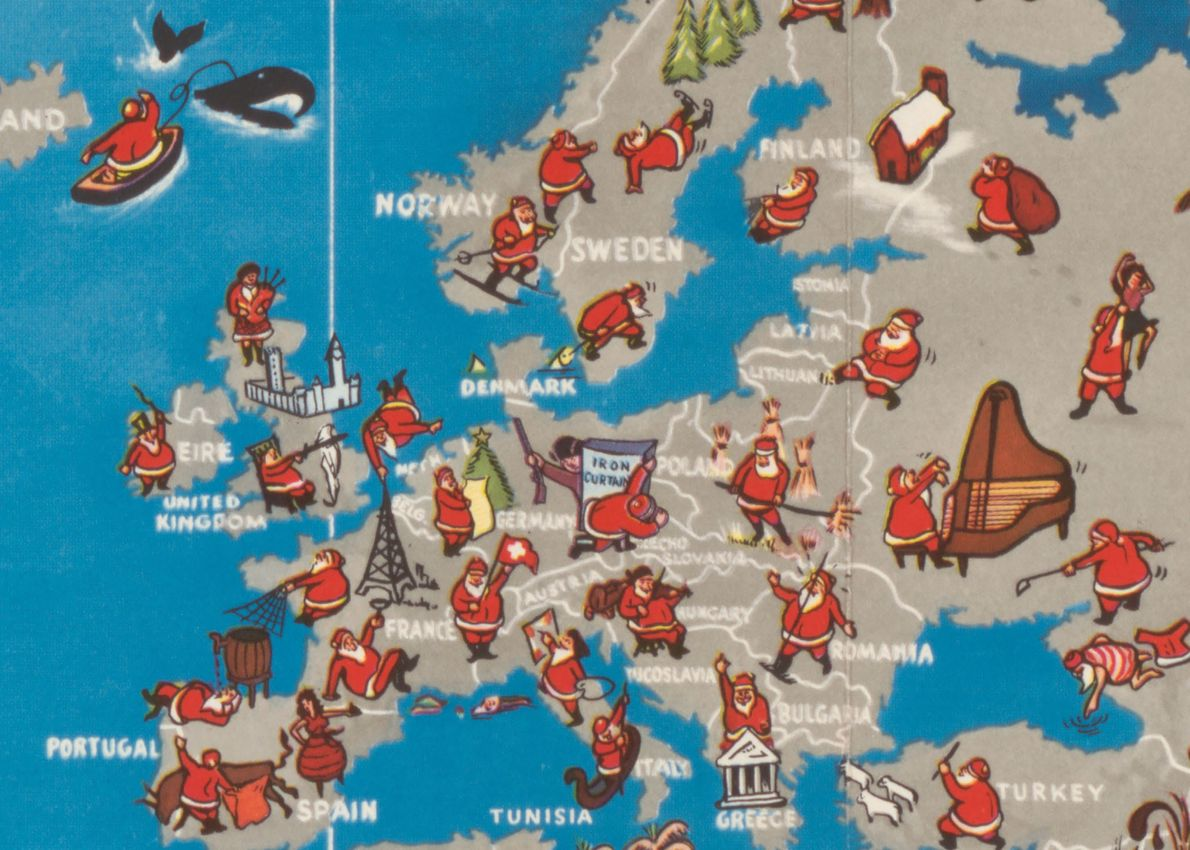 In Europe, Santa plays the bagpipes in Scotland, violin in Yugoslavia, and piano in Russia.