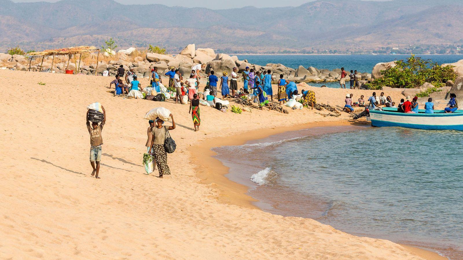 Passengers disembarking at Lake Malawi