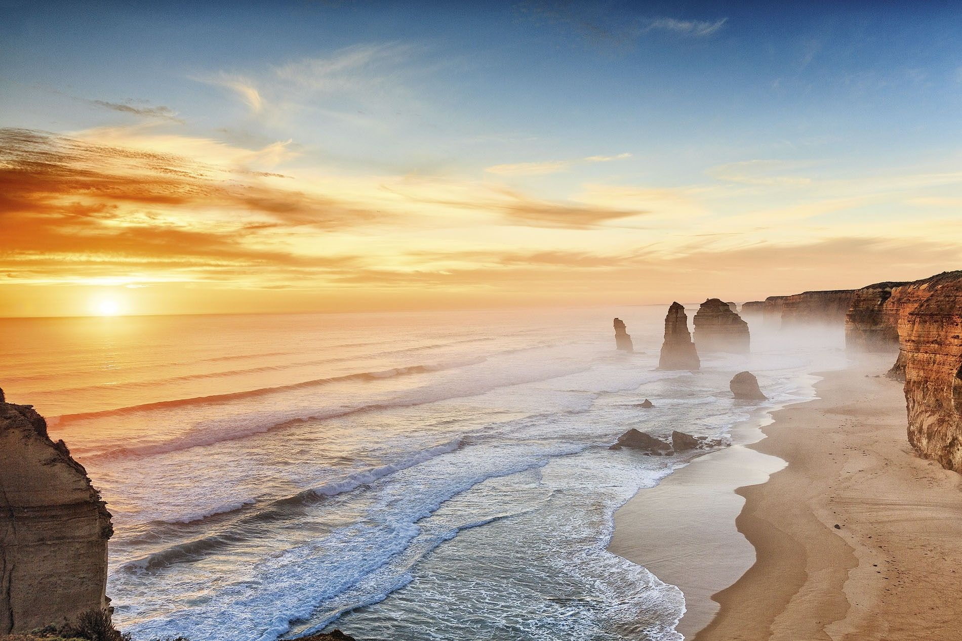 Sunset at the Twelve Apostles on the Great Ocean Road, Australia.