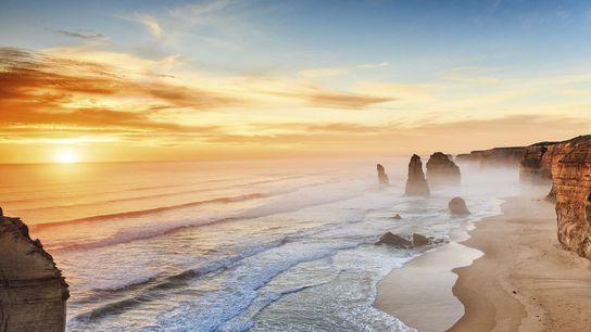 Sunset at the Twelve Apostles on the Great Ocean Road, Australia.