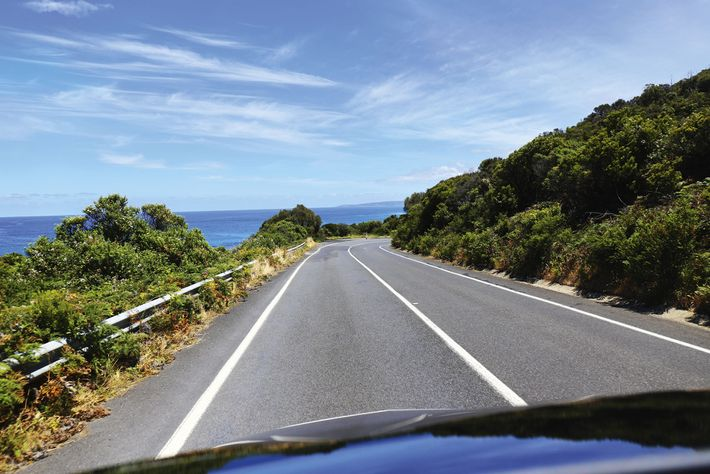 Driving down the Great Ocean Road, Victoria.
