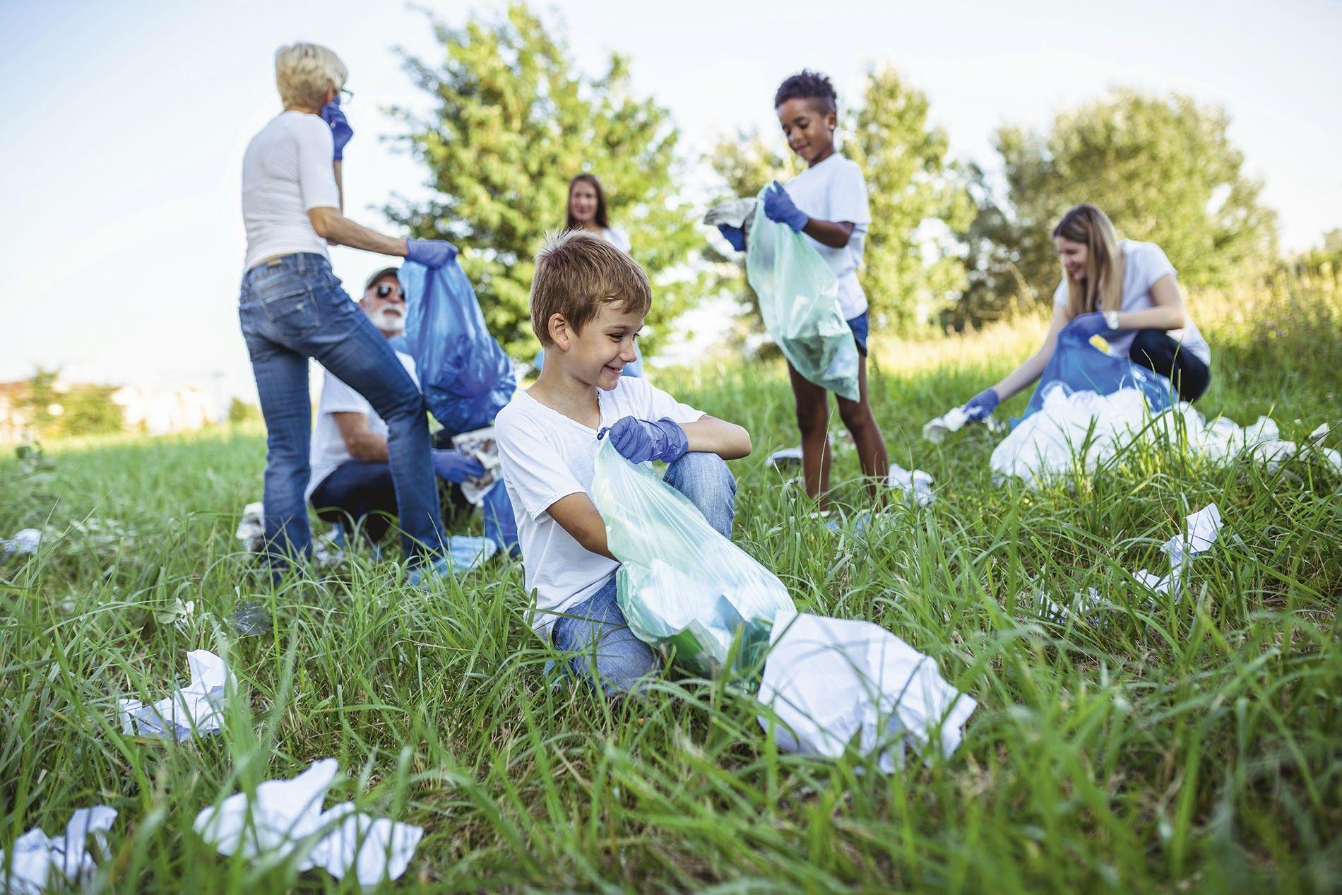 Children picking up trash.