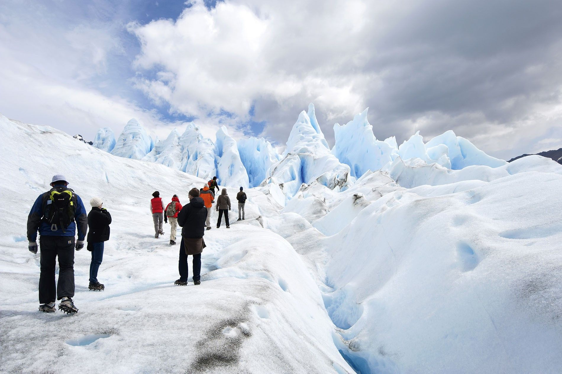 Ice-trekking on the surface of Perito Moreno Glacier, Patagonia.