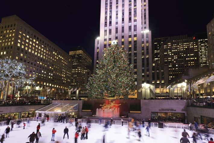 Rockefeller Center and Ice Rink during the winter holiday season