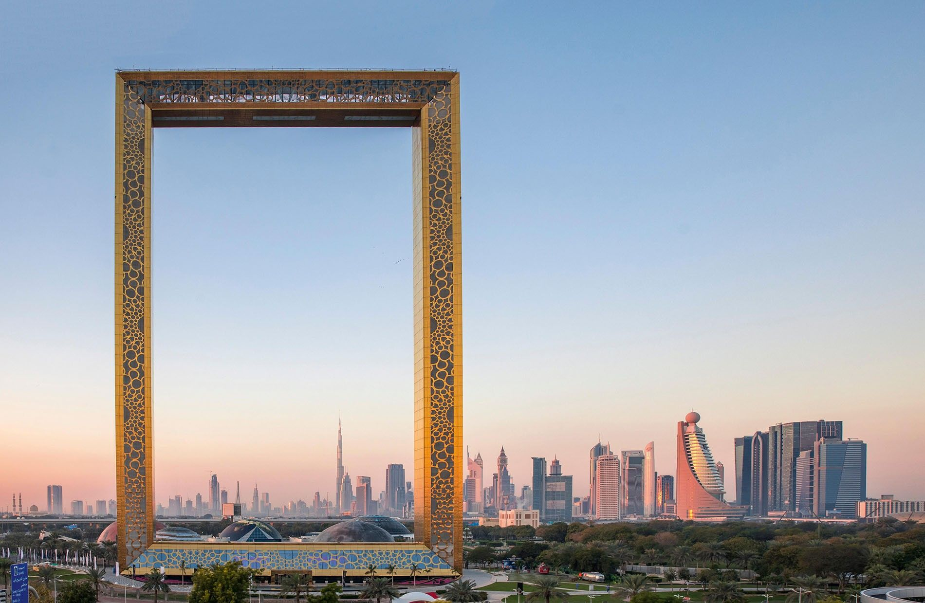 Dubai Frame building at sunrise.