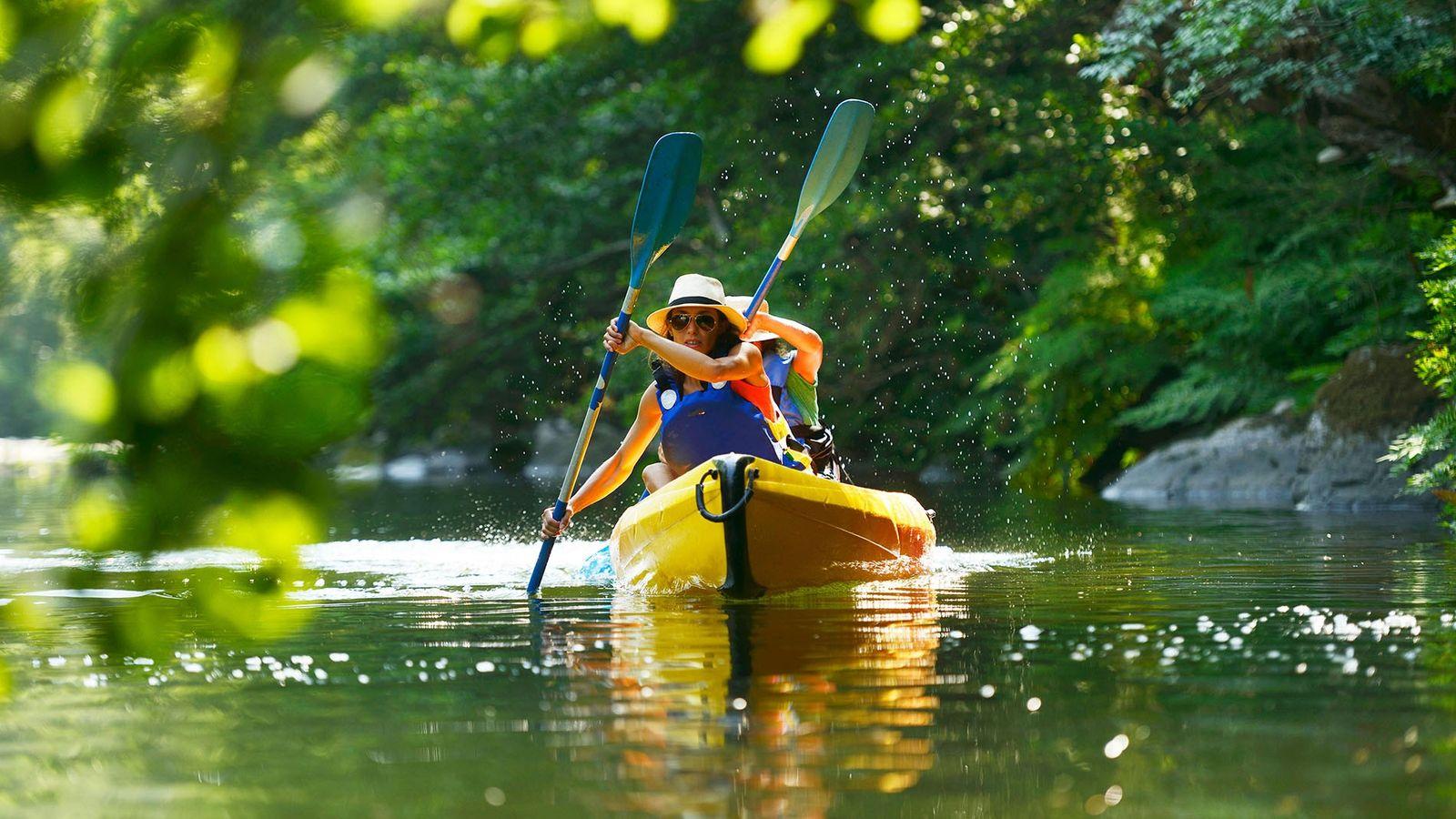 Canoeing on the river Golo in Bastia, Corsica