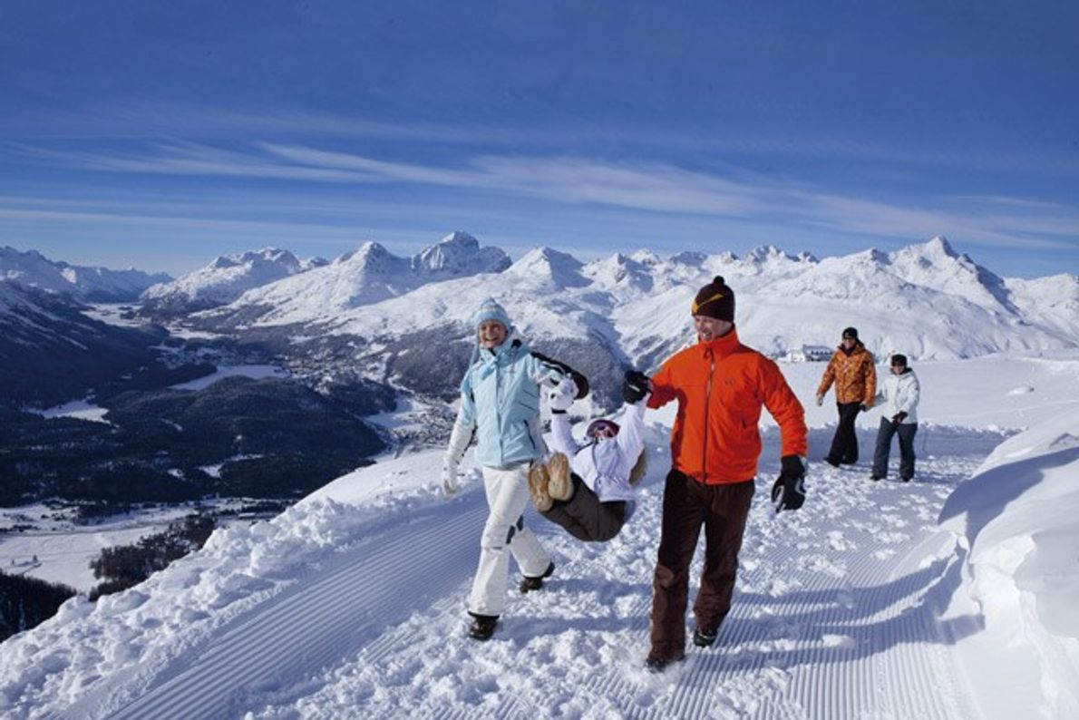 Luxury family skiing in St Moritz