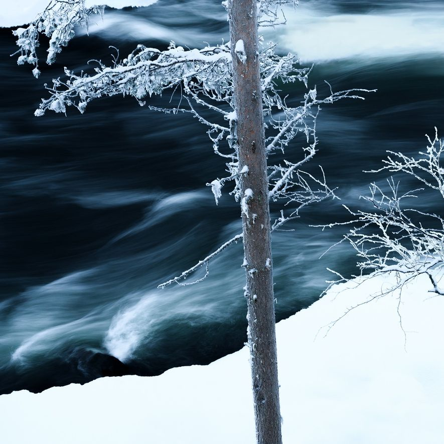 Focusing on the smaller details of the Myllykoski rapids in Oulanka National Park.