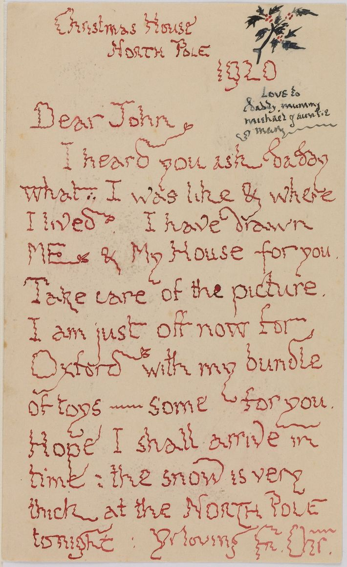 The first letter and illustration from Father Christmas - 1920 When Tolkien's three-year old son, John, asked ...