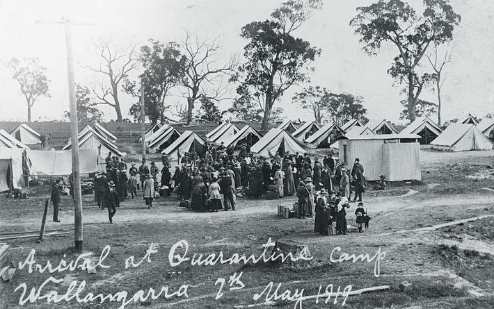 The Spanish flu did not strike in Australia until 1919. Quarantine camps like this one, in ...