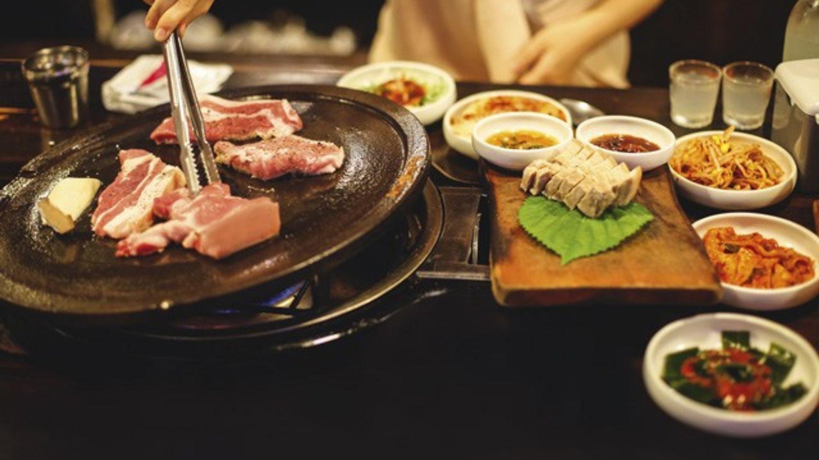 Korean barbecue on Jeju Island, South Korea.