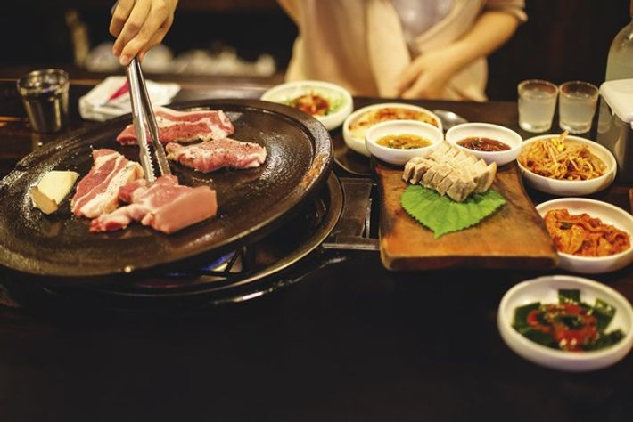 Korean barbecue on Jeju Island, South Korea.