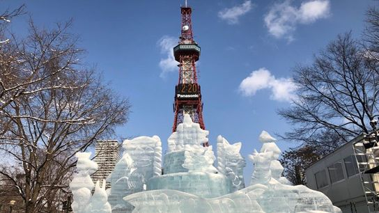 Ice sculptures at the foot of Hokkaido's TV tower