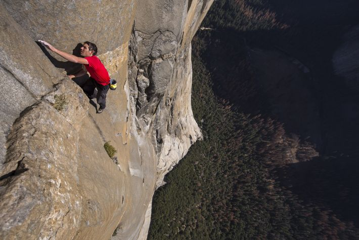 Onwards and upwards, Alex Honnold makes his way up El Capitan completely unencumbered by ropes and ...