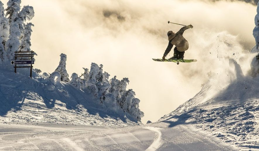 Freestyle skiing at Sun Peaks Resort, British Columbia, Canada. Image: Destination BC/Ryan Creary