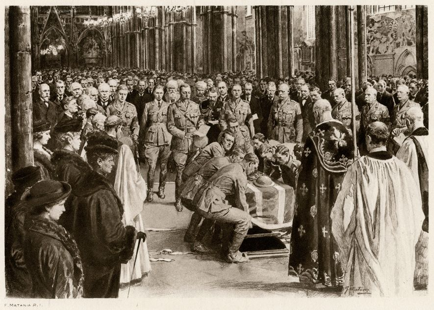 On Armistice Day, 11th November 1920 at the grave of the Unknown Warrior, whose body was brought from France to be buried at Westminster Abbey. This illustration shows King George V attending.