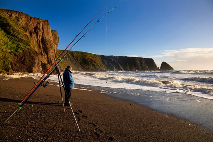 Fishing on Ballydowane Beach