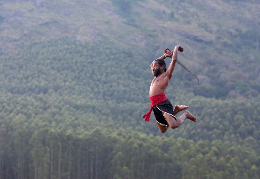 Practitioner of kalaripayattu, a traditional martial art.