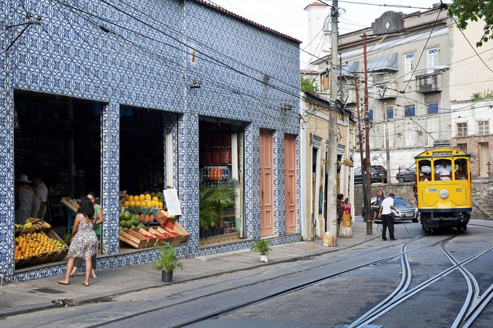 Traditional tiled fruit shop in the Santa Teresa neighbourhood