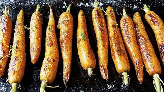 Whole roasted carrots.