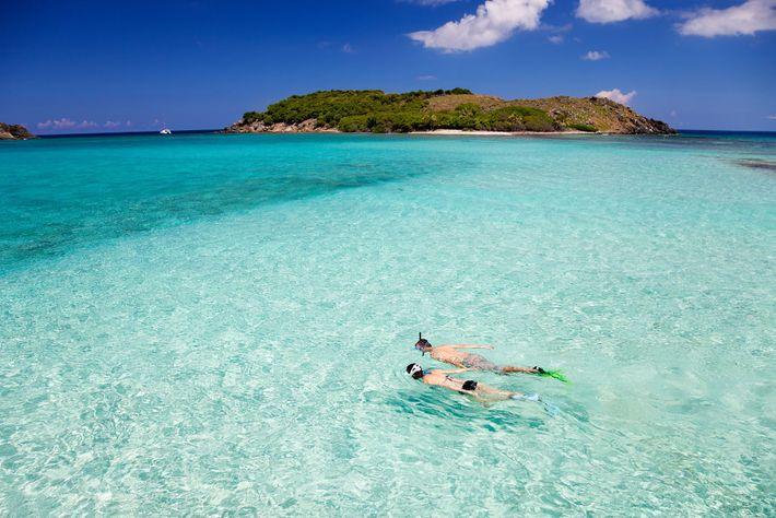 Snorkeler off the Caribbean coastline