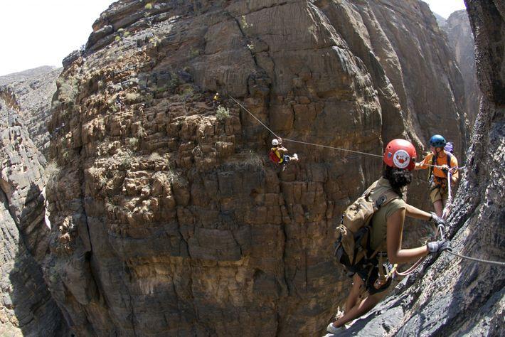 Outdoors activities in Oman, traversing the Jebel Sham via ferrata