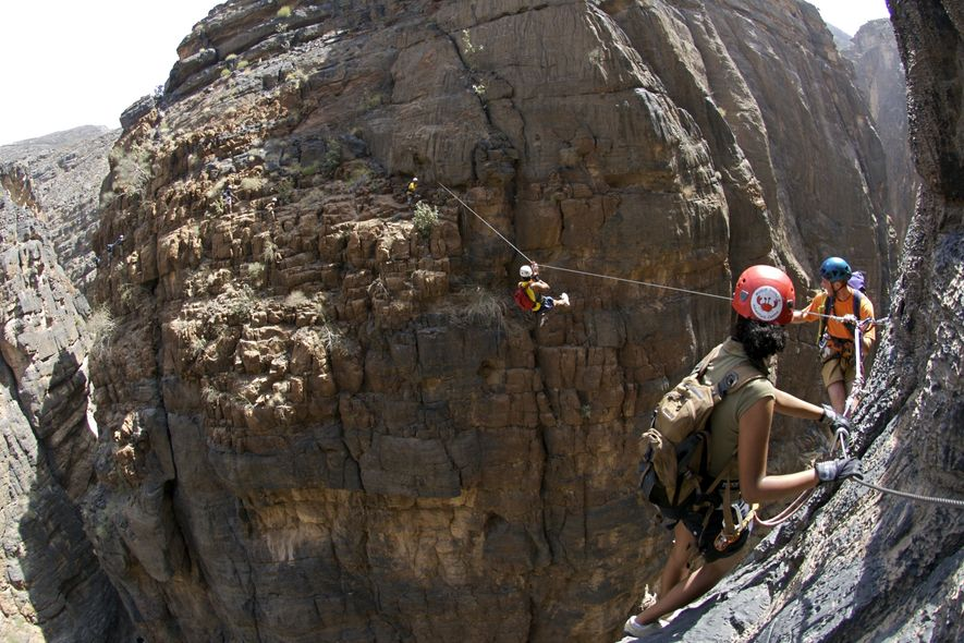 Outdoors activities in Oman, traversing the Jebel Sham via ferrata