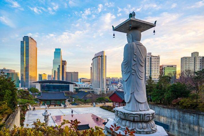 The Big Buddha in Bongeunsa Temple, Seoul.