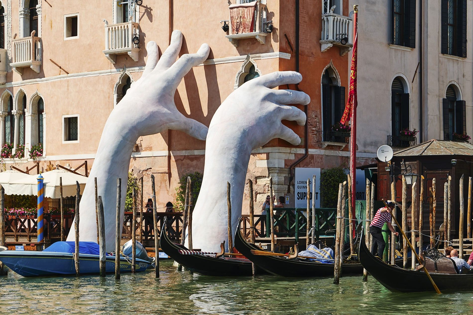 "Venice, Italy - February 2017 - ""Hands"" is the latest masterpiece by the artist Lorenzo Quinn. ..."