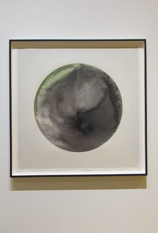 Glacial Currents (Black, Green) 2018; a series of watercolours conjur the textures and shades of meltwater.